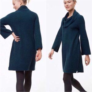 LOFT    Forest Green Cowl Neck Sweater Dress L